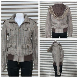 Roxy plaid zip up hooded jacket with pockets